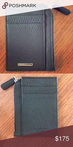 82e442138fa6 Ermenegildo Zegna Men's Zipper Leather Card Holder Men's Zegna 4 slot  credit card zippered black wallet