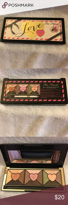 Too Faced Love eye shadow palette Authentic, 15 eyeshadows. Includes sample look cards. Used shadows sweetie pie and passion once. I have included a close up. I have swatched a few of the other colors. I did not include the eyeliner because I used it once and didn't like it but you can have it if you want it. No trades thank you. Too Faced Makeup Eyeshadow