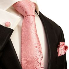 Extra Long Necktie Set by Paul Malone 100% Silk , Pink Paisley  http://www.yourneckties.com/extra-long-necktie-set-by-paul-malone-100-silk-pink-paisley-2/