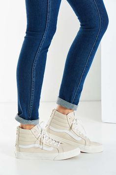 Vans Cream Leather Sk8-Hi Slim Sneaker - Urban Outfitters