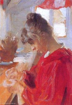 Marie in red dress Peder Severin Kroyer - 1890