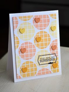 luv the fresh colors on this card...stamped plaid circles with little hearts attached in complimentary colors...