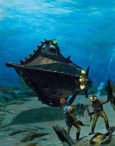 "Nautilus Leagues Under the Sea"" (Art Work) Jules Verne, Steampunk, Nautilus Submarine, Leagues Under The Sea, Classic Sci Fi, Adventure Movies, Guache, Sea Art, Science Fiction Art"