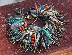 ON SALE Eclectic Bohemian Fringe Kyanite Bracelet. by rocksnbeads Jewelry Crafts, Jewelry Art, Beaded Jewelry, Handmade Jewelry, Jewelry Design, Beaded Bracelets, Artisan Jewelry, Necklaces, Textile Jewelry