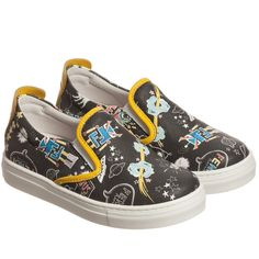 Fendi Black & Yellow Space Slip-On Trainers at Childrensalon.com