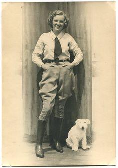 Vtg 1930s Woman Jodhpurs Boots Aviator Ruth Elder With Terrier Photo Aviatrix | eBay