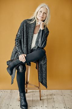 Hopefashion.co.uk Kimono Jacket with Leather Sleeves £250, Ecru Top £90, Leather Stretch Trousers £195