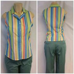 """ANNEX NWT Colorful Slimming Vertical Stripes Top S ANNEX, NWT, Colorful, Slimming Vertical Stripes Top, size Small, 5 center button closure, notched collar, v-neck, horizontal bust darts, straight hem, sleeveless, machine washable,  100% cotton, 23"""" length shoulder to hem, 17 1/2"""" bust laying flat, 16 1/2"""" waist laying flat, NEW WITH TAG Annex Tops"""
