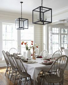 Lake House Dining Room By Muskoka Living Walls Painted Windsor Chairs Love The Grey