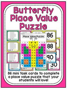 Watch this video of how her fun Place value games in the form of 100 chart puzzles reveal a cute picture after kids look at each card with base 10 blocks that tells them what color to make each number - these are so cool! Kindergarten Math Worksheets, In Kindergarten, Math Activities, Math Games, Math Stations, Math Centers, 100 Chart, Hundreds Chart, Place Value Games