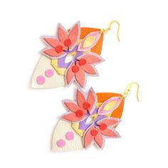 Geometric Earrings Neon Leather Jewelry Spike by BooandBooFactory