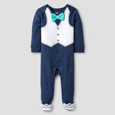 Vitamins Baby Baby Boys' Footed Coverall with Bow Tie - Blue