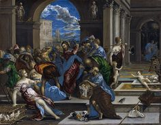 Christ Driving the Money Changers from the Temple is a painting by El Greco, from 1568, now in the National Gallery of Art in Washington, D.C., in the United States. It depicts the Cleansing of the Temple, an event in the Life of Christ. Wikipedia Artist: El Greco Dimensions: 2′ 2″ x 2′ 9″ Location: National Gallery of Art Media: Oil paint Created: 1568 Period: Mannerism