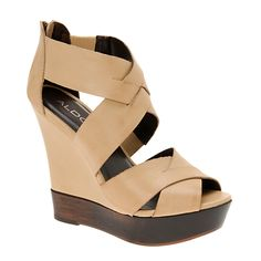 """ALDO """"Rixie"""" Tan and Wood Sandal Wedge These are hard to part with! Jeans and sundresses have their perfect match! Aldo Sandals, Aldo Shoes, Wedge Sandals, Wedge Shoes, Cute Wedges, Tan Wedges, Cute Shoes, Me Too Shoes, Sandals For Sale"""