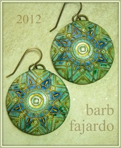 Polymer clay blue green mandala earrings by Barb Fajardo, aka rubarb04, via Flickr