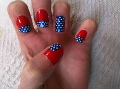 Fourth of July nails. Add a thin gold stripe and they can be Wonder Woman nails! Fingernail Designs, New Nail Designs, Great Nails, Love Nails, Mani Pedi, Manicure, Diy Nails, Wonder Woman Nails, 4th Of July Nails