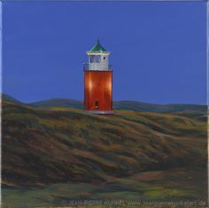 Quermarkenfeuer Kampen, Sylt, Leuchtturm, lighthouse, painting, oil on canvas, 30 x 30 cm, Jean-Pierre Kunkel, fine art for sale