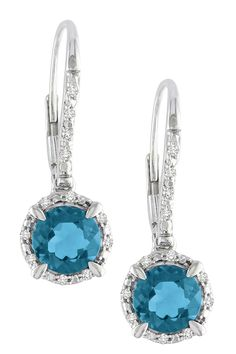 10K White Gold London Blue Topaz Diamond Drop Earrings