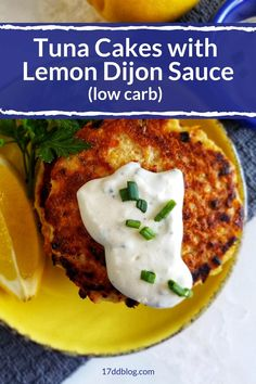 There's not a better combo of low carb + tuna cakes! Yes, this Tuna Cakes with Lemon Dijon Sauce is perfect for a Keto lifestyle! Lose weight while you eat YUMMY food! Pin now for printable recipe! Easy Tuna Recipes, Canned Tuna Recipes, Good Healthy Recipes, Healthy Breakfast Recipes, Low Carb Recipes, Cooking Recipes, Ww Recipes, Healthy Meals, Vegetarian Recipes
