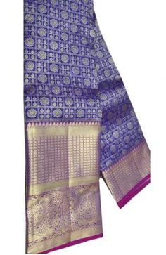 Blue Handloom Kanjeevaram Pure Silk Saree Banarasi Sarees, Pure Silk Sarees, Cotton Blouses, Sarees Online, Blouse Designs, Floral Tie, Pure Products, Clothes For Women, Clothing