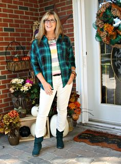 Green Flannel and a Hudson Bay Tee for a Canadian Lumberjack look #plaid #ootd #canadian #fall