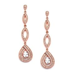 Mariell Micro-Pave Rose Gold CZ Art Deco Dangle Chandelier Wedding Earrings - Blush Jewelry for Brides Gold Bridal Earrings, Prom Earrings, Rose Gold Earrings, Teardrop Earrings, Bridesmaid Jewelry Sets, Wedding Jewelry, Thing 1, Triangle Earrings, Rose Gold Jewelry