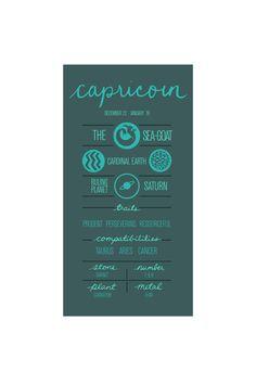 CAPRICORN. Zodiac Poster. Detailed Description of by ZodiacZone