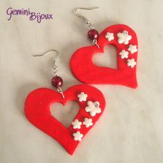 Orecchini fimo cuori rossi e fiorellini con strass, by Gemini Bijoux, 5,00 € su misshobby.com