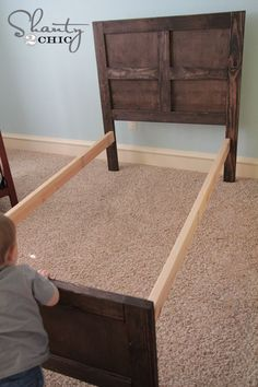 How to build a Pottery Barn inspired bed! This is great!