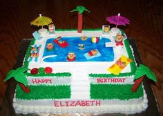 Pool Party Cake - This was a large cake, the bottom layer is an 11x15, the top layer is a 9x13.  It is hard to see in the photo but I carved out steps going from the bottom layer to the top layer.  The water was made with blue gel.  Most of the decorations were made using MMF, I also used gummy lifesavers, and the little teddy grahms were decorated with BC icing.