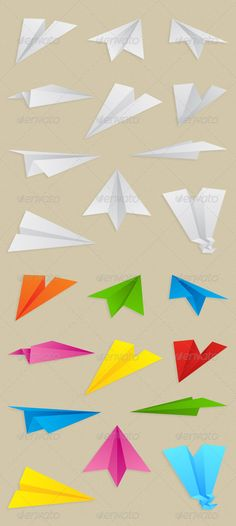 Paper Planes Collection — Vector EPS #origami #light yellow • Available here → https://graphicriver.net/item/paper-planes-collection/232643?ref=pxcr