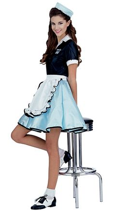 Hallowen Costume Couples Roll into Halloween with this car hop waitress costume! This retro Halloween costumes and our adult costumes are swell. We have many car hop costumes for women! Girls 50s Costumes, Halloween Costumes For Teens Girls, Cute Costumes, Adult Costumes, Costumes For Women, 1950s Costumes, Grease Costumes, Simple Costumes, Sailor Costumes
