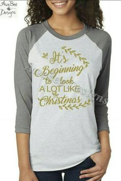 It's Beginning to Look A lot Like Christmas Raglan Baseball Style T Shirt by AweBeeDesigns on Etsy
