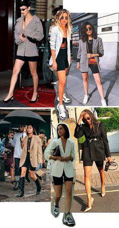 Blazer e Biker Shorts Bike Shorts Outfit Tips Look Blazer, Blazer And Shorts, Blazer Outfits, Casual Outfits, Casual Blazer, Fashion In, Blazer Fashion, Fashion News, Fashion Outfits