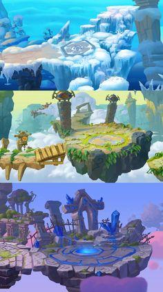 ArtStation - customs pass, V FF Fantasy Art Landscapes, Fantasy Landscape, Landscape Art, Game Design, Mega Anime, 2d Game Art, Cartoon Background, 2d Game Background, Game Concept Art