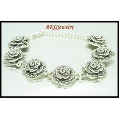 Marcasite Jewelry Electroform Rose Bracelet 925 Sterling Silver [MB042 ...