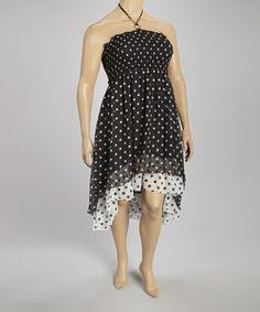 Black & White Polka Dot Halter Dress - Plus by Metro 22 #zulily #zulilyfinds