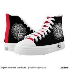 Sugar Skull Black and White Laurel Leaf Printed Shoes