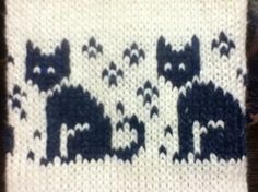 Жаккардовый рисунок с вязаными котами A friend purchased a hat with this cat motif. I simply charted it. The motif is 19 stitches tall by 19 stitches wide. Fair Isle Knitting Patterns, Fair Isle Pattern, Knitting Charts, Knitting Stitches, Knitting Yarn, Baby Knitting, Knitted Baby, Stitch Patterns, Crochet Patterns