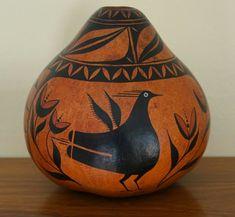 Robert Rivera Painted Gourd Zin Design New Mexico Bird Art