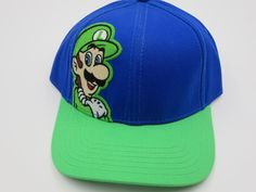 Nintendo Super Mario Luigi Green Youth Childrens Size Snapback Hat Cap  #Bioworld #BaseballCap  #Nintendo Super Mario Luigi