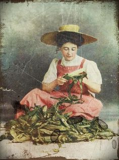 beautiful old picture ... schucking corn