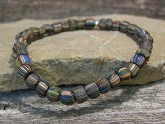 Beaded Bracelet  Mens Bracelet  Stretch by StoneWearDesigns