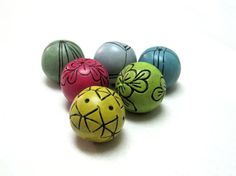 6 handmade clay beads loose beads rustic style by OrlyFuchsGalchen