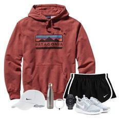 """""""{It's about us right now, girl, where you going?}"""" by madelyn-abigail ❤ liked on Polyvore featuring Patagonia, NIKE, Nixon and S'well"""