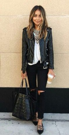 Sincerely Jules outfit distressed jeans leather jacket Valentino flats