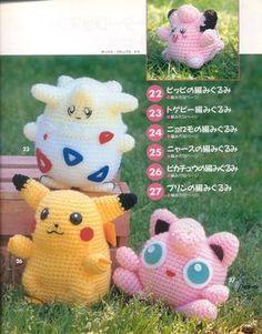 Muñecos amigurumi de la serie Pokemon, yo solo conozco a Picachu y a Miau... pero están todos para comerselos. Os dejo los patrones. (e...