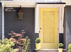 Sensational Color Combos…Gray House & Yellow Door – Front Door Freak – farmhouse front door with screen Yellow Front Doors, Front Door Paint Colors, Exterior Paint Colors, Exterior House Colors, Exterior Doors, Paint Colours, Painted Screen Doors, Painted Storm Door, Front Door With Screen