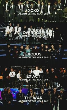 This is great, but it is sad how by each year the group gets smaller 😢 Exo Kai, Exo Chanyeol, Kyungsoo, Exo Group Photo, Shinee, 5 Years With Exo, Exo Ot12