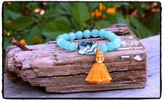 Abalone and Aqua Jade Stretch Bracelet with by ShortDogJewelry